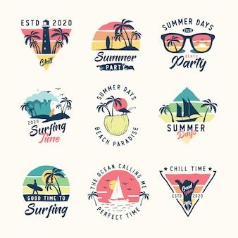 Conjunto de logotipo de verão vintage