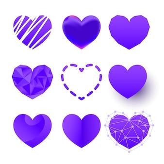 Conjunto de logotipo de vetor de corações de cor poligonal, plana e de corte de papel