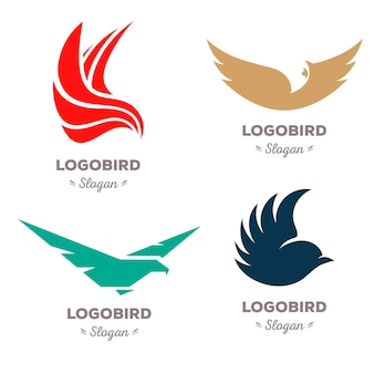 Conjunto de logotipo de vetor de pássaros voadores coloridos isolados, logotipo de animais, coleção de asas contorno