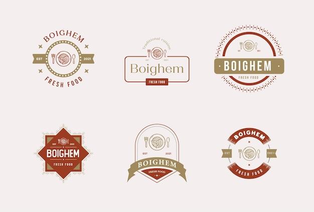 Conjunto de logotipo de vetor premium de distintivo de comida de restaurante