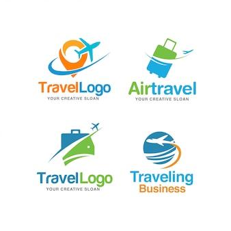 Conjunto de logotipo de viagem moderna abstrata