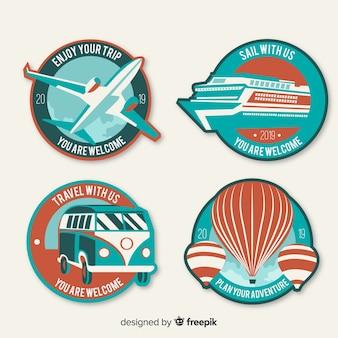 Conjunto de logotipo de viagem plana vintage