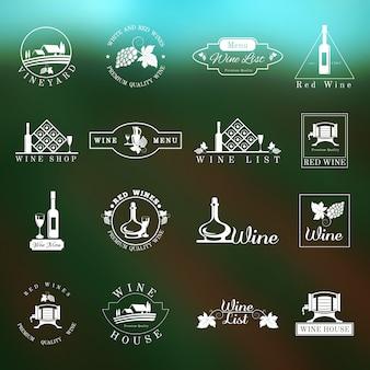 Conjunto de logotipo de vinho