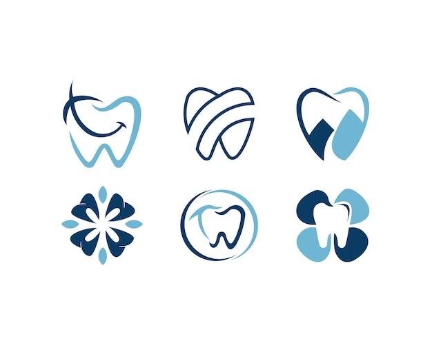 Conjunto de logotipo dental estrela projeta conceito