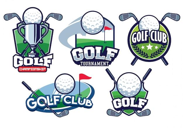 Conjunto de logotipo design distintivo dourado
