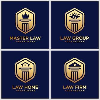 Conjunto de logotipo direito, escritório de advocacia, lei modelo de design de logotipo para casa inspiração