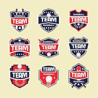 Conjunto de logotipo distintivo de esporte beisebol