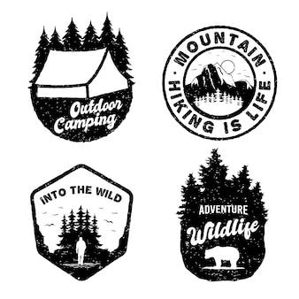 Conjunto de logotipo distintivo vintage de aventura