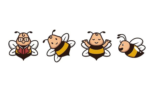 Conjunto de logotipo divertido de abelha fofa