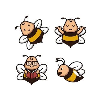 Conjunto de logotipo divertido de abelha