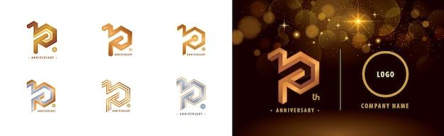 Conjunto de logotipo do 10º aniversário celebração do aniversário de dez anos logotipo da hexagon infinity de 10 anos