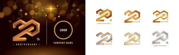 Conjunto de logotipo do 20º aniversário comemoração do aniversário de 20 anos logotipo da hexagon infinity de 20 anos