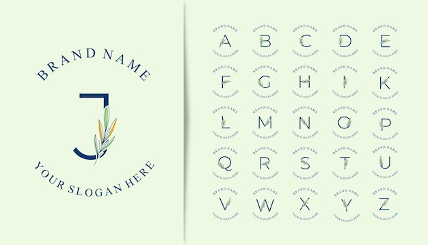 Conjunto de logotipo do alfabeto com lindas folhas desenhadas à mão
