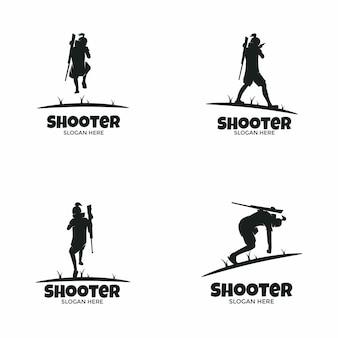 Conjunto de logotipo do atirador