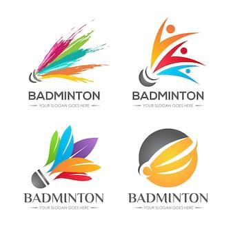 Conjunto de logotipo do badminton shuttlecock