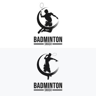 Conjunto de logotipo do badminton smash