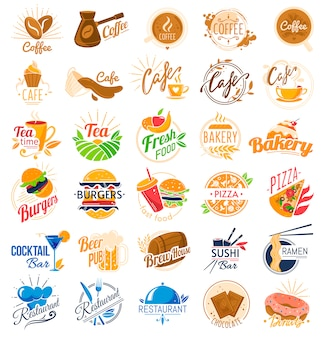 Conjunto de logotipo do café de comida.