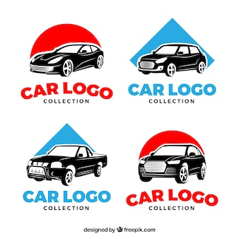 Conjunto de logotipo do carro vermelho e azul