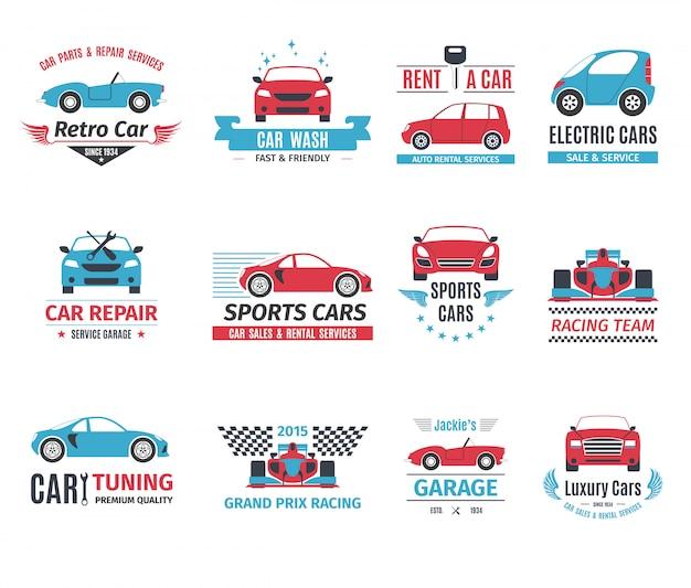 Conjunto de logotipo do carro