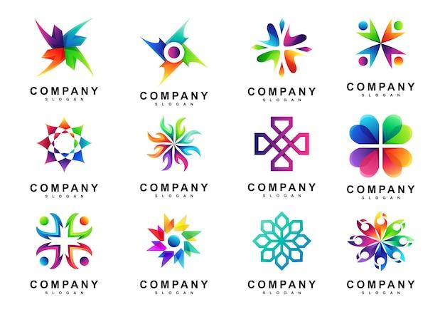 Conjunto de logotipo do círculo abstrato coloful