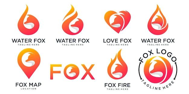 Conjunto de logotipo do conceito de design simples e moderno de raposa criativa