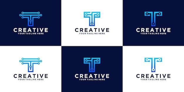Conjunto de logotipo do design da letra inicial do monograma t de tecnologia