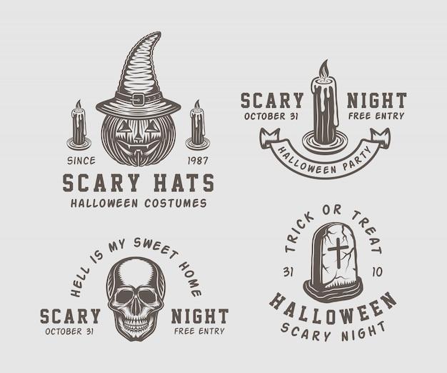 Conjunto de logotipo do dia das bruxas