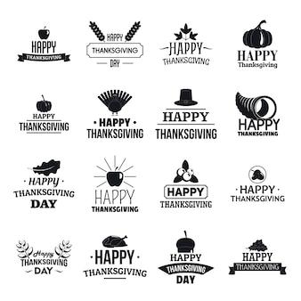 Conjunto de logotipo do dia de ação de graças