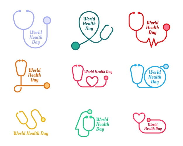 Conjunto de logotipo do dia mundial da saúde