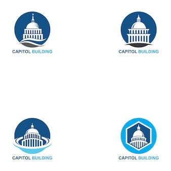 Conjunto de logotipo do edifício do capitólio