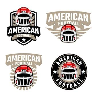 Conjunto de logotipo do emblema de futebol americano