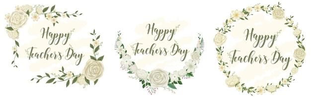 Conjunto de logotipo do feliz dia do professor com tema floral