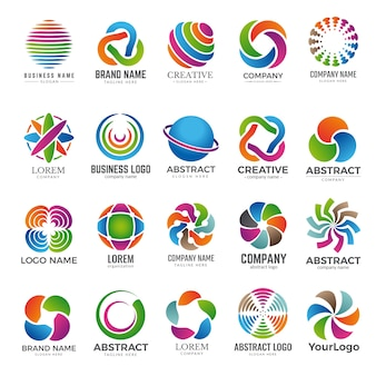Conjunto de logotipo do globo empresarial