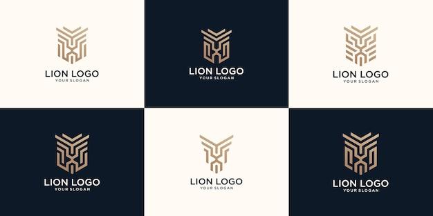 Conjunto de logotipo do leão da arte de linha abstrata