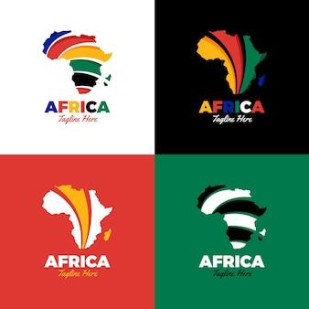 Conjunto de logotipo do mapa criativo da áfrica