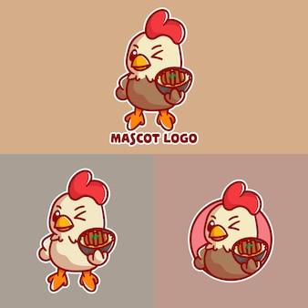Conjunto de logotipo do mascote cutechicken katsu com aproximação opcional.