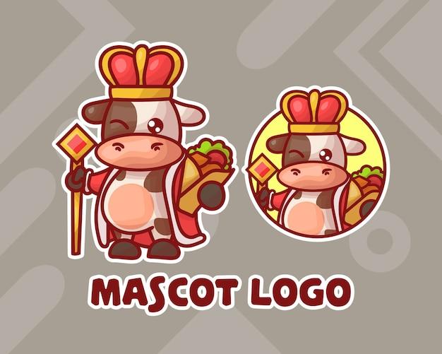 Conjunto de logotipo do mascote da vaca rei kebab fofo