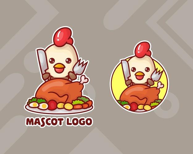 Conjunto de logotipo do mascote de frango bonito com aparência opcional.