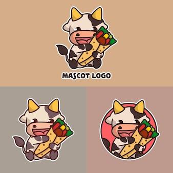 Conjunto de logotipo do mascote de kebab de vaca bonito com apreciação opcional.