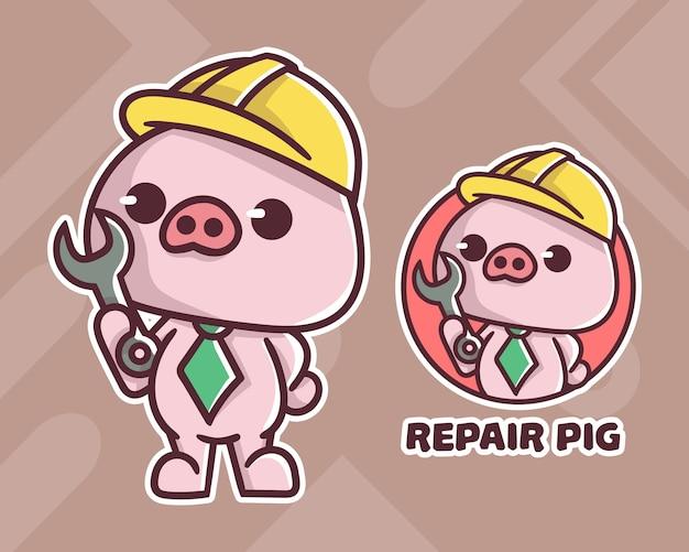 Conjunto de logotipo do mascote de porco de reparo bonito com aparência opcional.