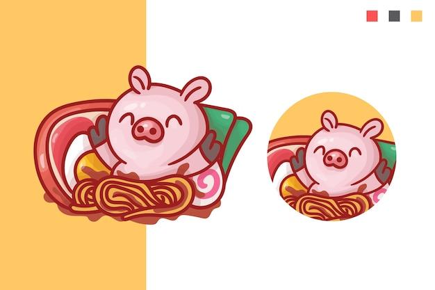Conjunto de logotipo do mascote de porco ramen fofo com aparência opcional.