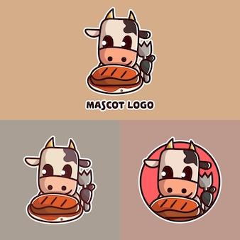 Conjunto de logotipo do mascote de vaca fofa com abordagem opcional