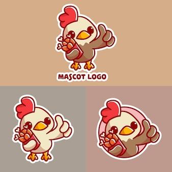 Conjunto de logotipo do mascote do balde de frango bonito com apreciação opcional.