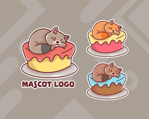 Conjunto de logotipo do mascote do bolo do gato bonito com aparência opcional.