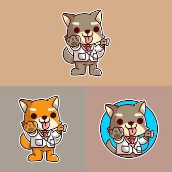 Conjunto de logotipo do mascote do cão médico fofo
