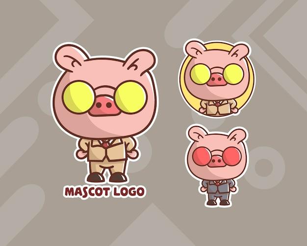 Conjunto de logotipo do mascote do terno bonito do porco de negócios com aparência opcional.