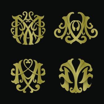 Conjunto de logotipo do monograma letra m