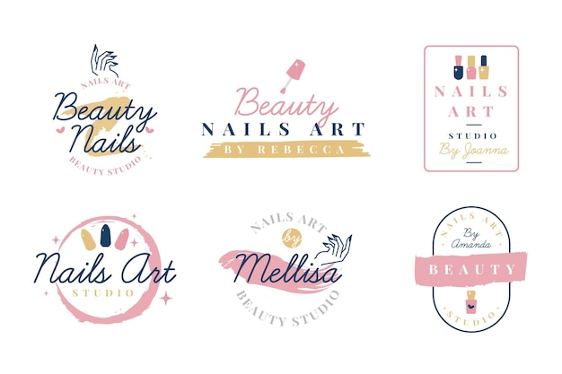 Conjunto de logotipo do nails art studio