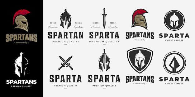 Conjunto de logotipo do pacote de espartanos, vetor vintage, ilustração do desenho da lança de armas logotipo de sparta