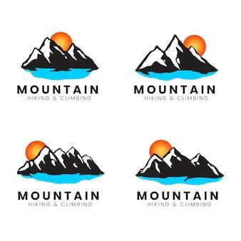 Conjunto de logotipo do pico da montanha